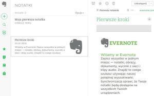 Ekran startowy Evernote