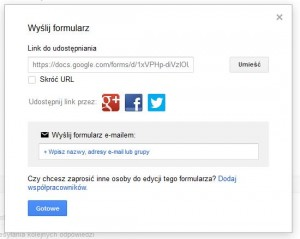 Google Forms - link do formularza